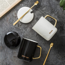 Custom Personalized Classic <strong>Black</strong> White Ceramic Mug Gold-plated Cup Reusable Coffee Mug with Lid Spoon