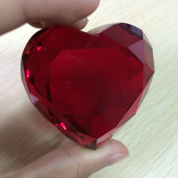 Loose Glass Gemstone Heart Cheap 50mm Red Crystal Gem