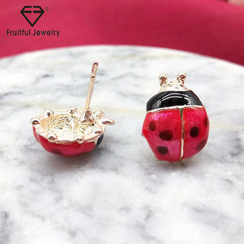 Gold earrings designs for girls red metal insect jewelry cartoon cute fashion rose gold red beetle stud earrings