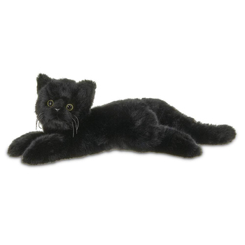 D813 Furry Vivid Plush Stuffed Animal Black Cat Toy Kitten Fluffy Pillow Plush Toys Black Cat