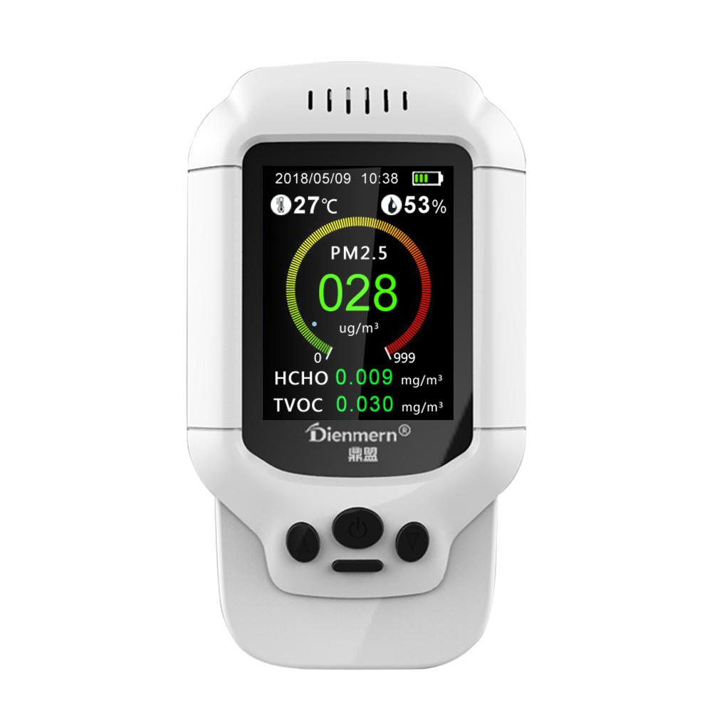 Medidor de calidad de aire aire de aire de calidad de aire PM2.5//PM1.0//PM10 HCHO TVOC Temp Hum formaldeh/ído detector para interiores de aire ambiente sem/áforo con pantalla LCD a color
