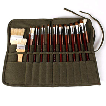 Paint Brush Case Canvas Roll Up Storage Bag Holder Canvas Wrap for Acrylic Watercolor Oil Face Brush