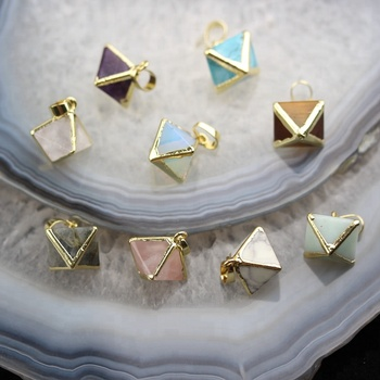 Mix Stone Pyramid Charms Crafts Necklace,Faceted Cone Gemstone Plated Gold Bails Fashion Pendants
