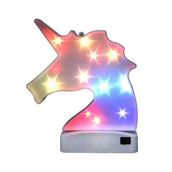 new products RGB LED glow in the dark unicorn mirror light with music
