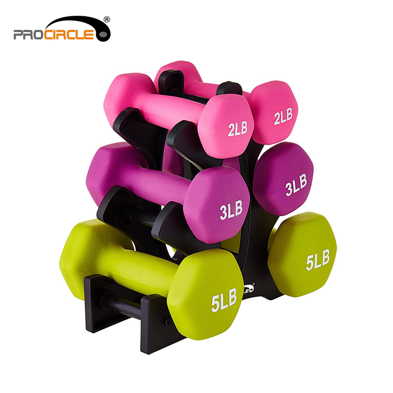 Home Hex Neoprene Coated Colorful Dumbbell Weight Lifting Training--One Pair