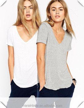 Cotton Spandex White / Grey Plain Womens Deep V Neck T Shirt with Raw Trim and Seam