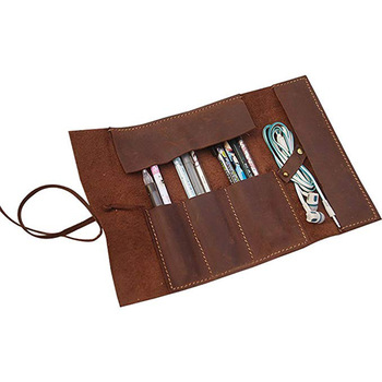 Roll up Leather tool pouch Cosmetic Pencils case