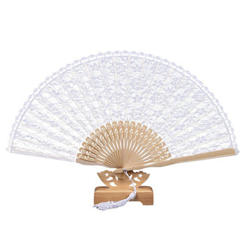 9 inch Top bamboo White lace fan for wedding gifts