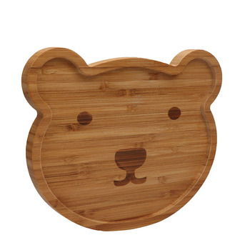 Wholesales cute bear shaped baby food wood plate Thanks Giving Day gift of baby bamboo plate