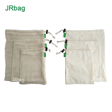 Factory Customized 3pcs Cotton Cooking Mesh <strong>Bags</strong> And 3pcs Cotton Net <strong>Bags</strong> For Produce Food Safe