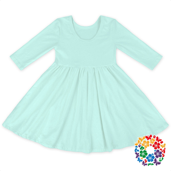 Lovely Aqua Long Sleeve Dresses Solid Color Winter Cotton Frock 0-4 Years Old Girls Frock Patterns
