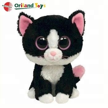 OEM hot sale cute soft stuffed black cat plush toy animal with big eyes
