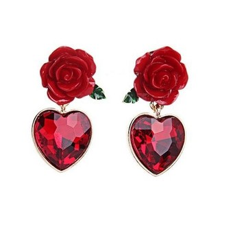 New Arrival Red Color Rose Design Creative Lovely Memorable Heart Pendant Earring