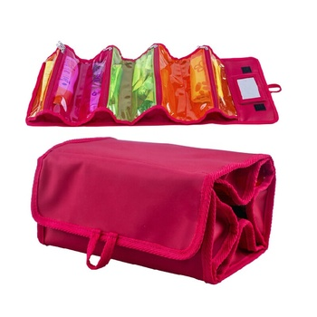 Roll UP Bathroom Hanging Toiletry Organizer Case Red Removable Travel PVC Cosmetic Makeup Bags for women and men