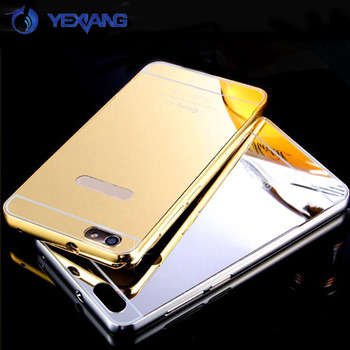 Luxury Aluminum Metal Bumper Mirror Phone Case Plastic Back Cover For Huawei honor 4x