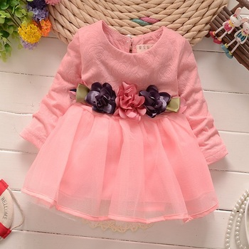 Baby Girl Party Dress Children Frocks Designs Long-sleeved Girl Child Dress High Quality Baby Wear Clothes