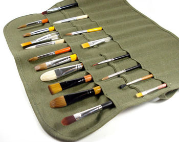 Hot Roll Up Canvas Paint Brush Storage Case Bag