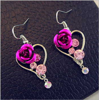 ZA0421 Huilin Korean Fashion red rose crystal Earrings Wholesale Pink Diamond Rose Earrings New arrival Earrings Women Jewelry