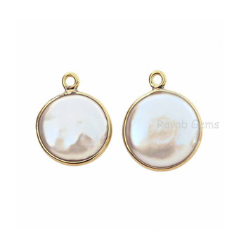 Natural Freshwater Pearl 12mm Round shape Gemstone Charms Gold Plated 925 Sterling Silver natural pendant gemstone