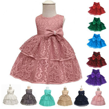 latest birthday princess new design fashion children frock design one piece girl kids party bowknot dresses with Chinese label