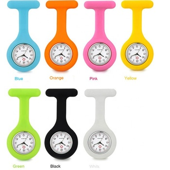 Promotional Gift Rubber Silicone Doctor Pocket Watch Clip Brooch Breast Nurse FOB Watch