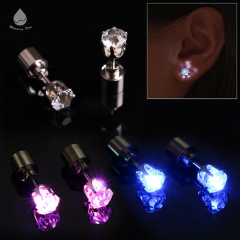 Party Products Glowing Crystal Stainless Ear Drop Ear Stud Light Up Flashing LED Earrings