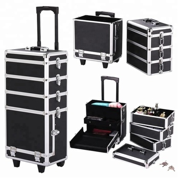 Beauty Pro Artist Cosmetic Makeup Station Rolling Make Up Case