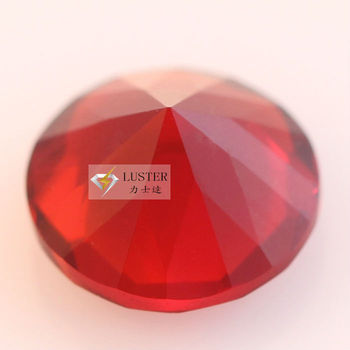 Factory custom round diamond cut ruby red glass gem for craft