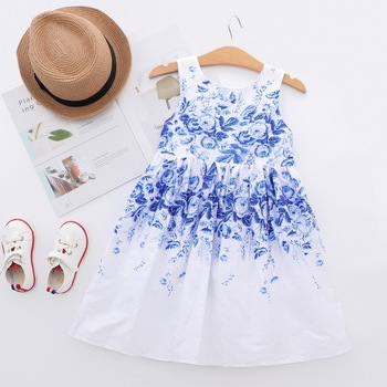 Elegant Blue And White Porcelain Printed 3 Years Baby Frock Designs Girls Dresses For Kids