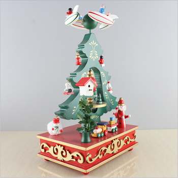 New best christmas gift music wood box christmas tree music box music box baby