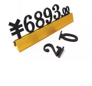 Custom gold silver metal cube number display price tags holder with stand for electric appliance wine furniture shop