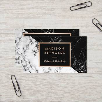 Cheap Custom Makeup Artist Fashionable Mixed Black White Marble Business Card