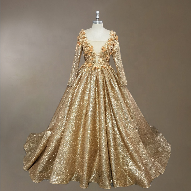 plus size gold evening gowns with sleeves