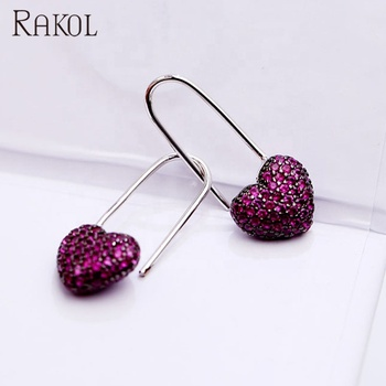 Rakol ZE1379 fashion lovely rose red heart pave cubic zircon drop earrings for women