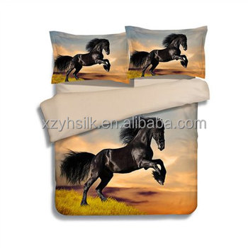 4 pieces Polyester Bedding Set Black Horse Pattern Duvet Cover / Pillowcases / Flat Sheet