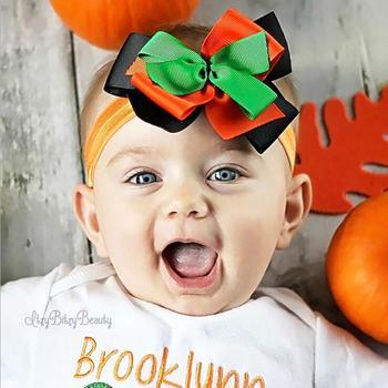 Halloween headband newborn flower headband, Pumpkin headband toddler baby headband black and orange headband