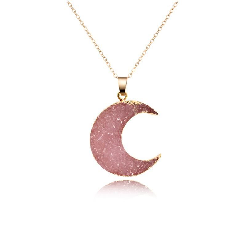 Rose Quartz Crescent Moon Necklace