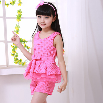 Baby Girl Party Dress Children Frocks Designs Summer new fashion girl clothes vest +shorts sets kids lattice chiffon suit