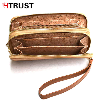 Luxury chain wood and cork clutch credit card holder ladies double zipper wallet