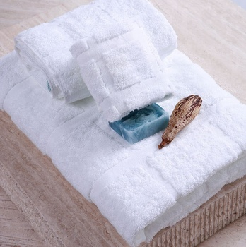 Luxury 100% egyptian Cotton white bath towel for 5 star hotel