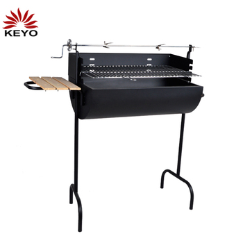 Outdoor Picnic Hanging Wooden Handle Auto Rotating Charcoal Skewer Meat Making Machine BBQ Grills Rotator barbeque