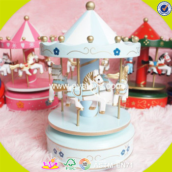 wholesale baby wooden merry go round music box best sale kids wooden merry go round music box W02A037