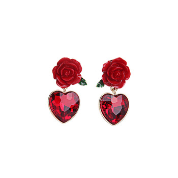 Vintage Wedding Bridal Jewelry Wine Red Rose Flower Drop Crystal Heart Earrings
