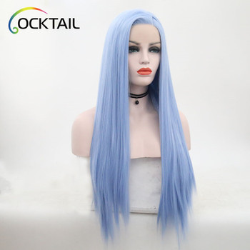 Low cost high temperature fiber blue colour synthetic lace front wig