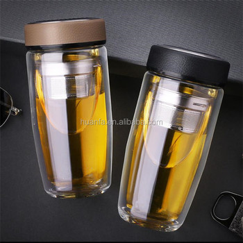 2021 Green products loose leaf hot cold drink 380ML double wall glass tea tumbler tea infuser water bottle