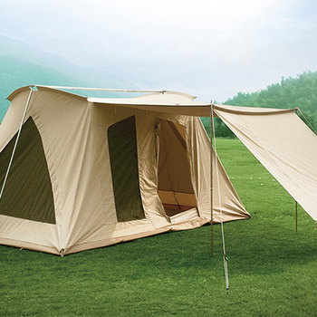 Hot 12*10ft luxury Family camping Flex bow cotton canvas glamping safari cabin tent family camping high quality