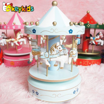 2016 wholesale baby wooden merry go round music box, best sale kids wooden merry go round music box W02A037