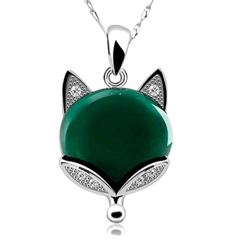 Womens Natural Stone Emerald Gemstone Inlaid 925 Sterling Silver Fox Animal Pendant Necklace