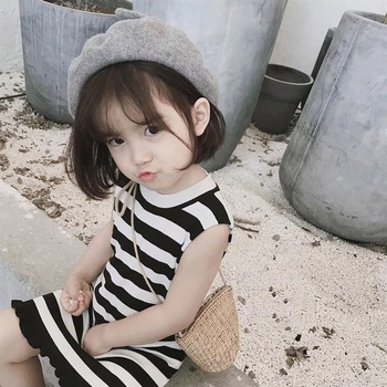 girls vest frock 2019 new baby striped simple fashion princess summer Korea bowknot casual high quality girls dress