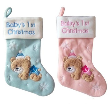 Pink And Blue Baby's 1st Christmas Stockings For Kids Family Fireplace Decorations